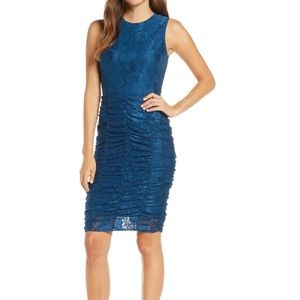 Eliza j Ruched Lace Body-Con Dress